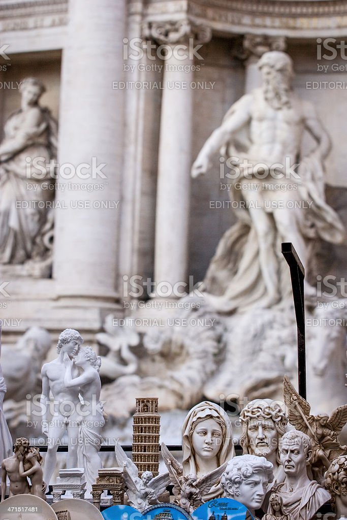 Souvenirs and Tourist Gifts at Trevi Fountain in Rome royalty-free stock photo