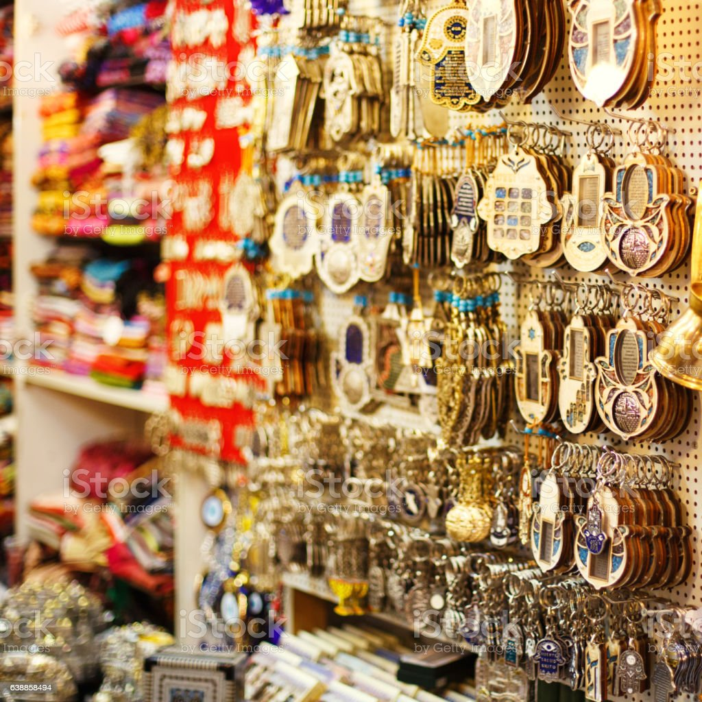 Souvenirs at Jerusalem bazaar, hamsa stock photo