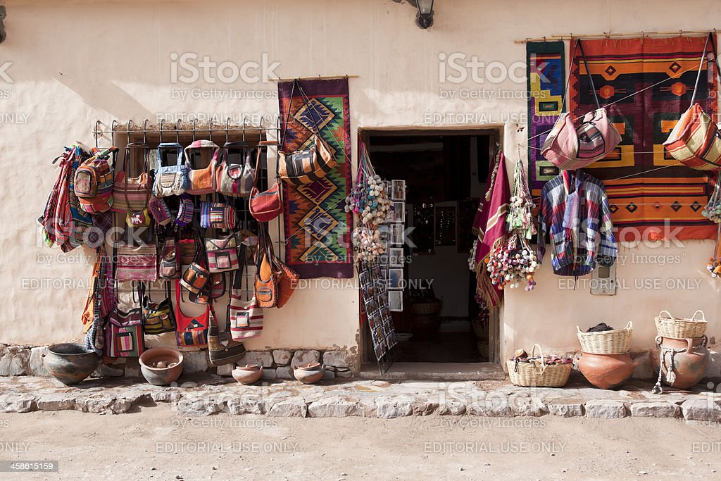 Souvenirs for sale at argentine village Purmamarca stock photo