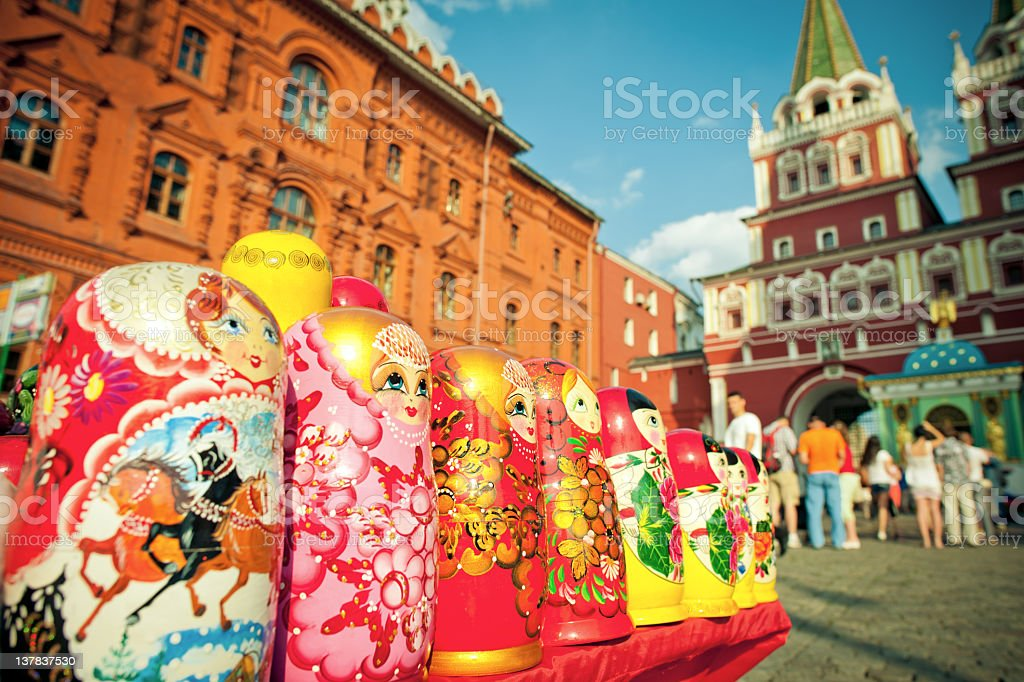Souvenirs from Russia laid next to each other stock photo