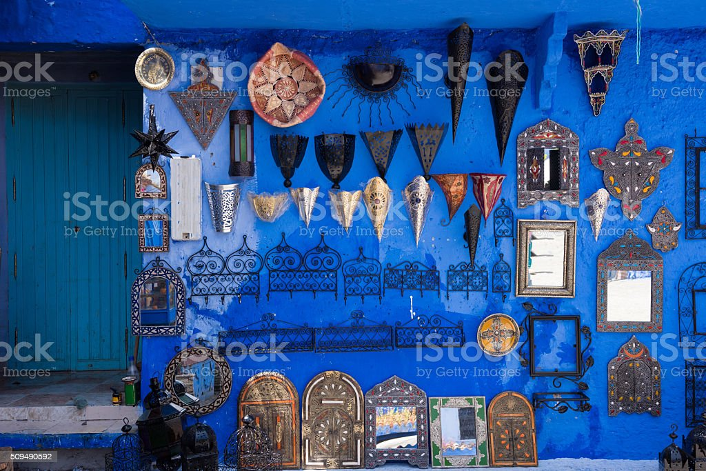 Souvenirs in Chefchaouen, Morocco stock photo