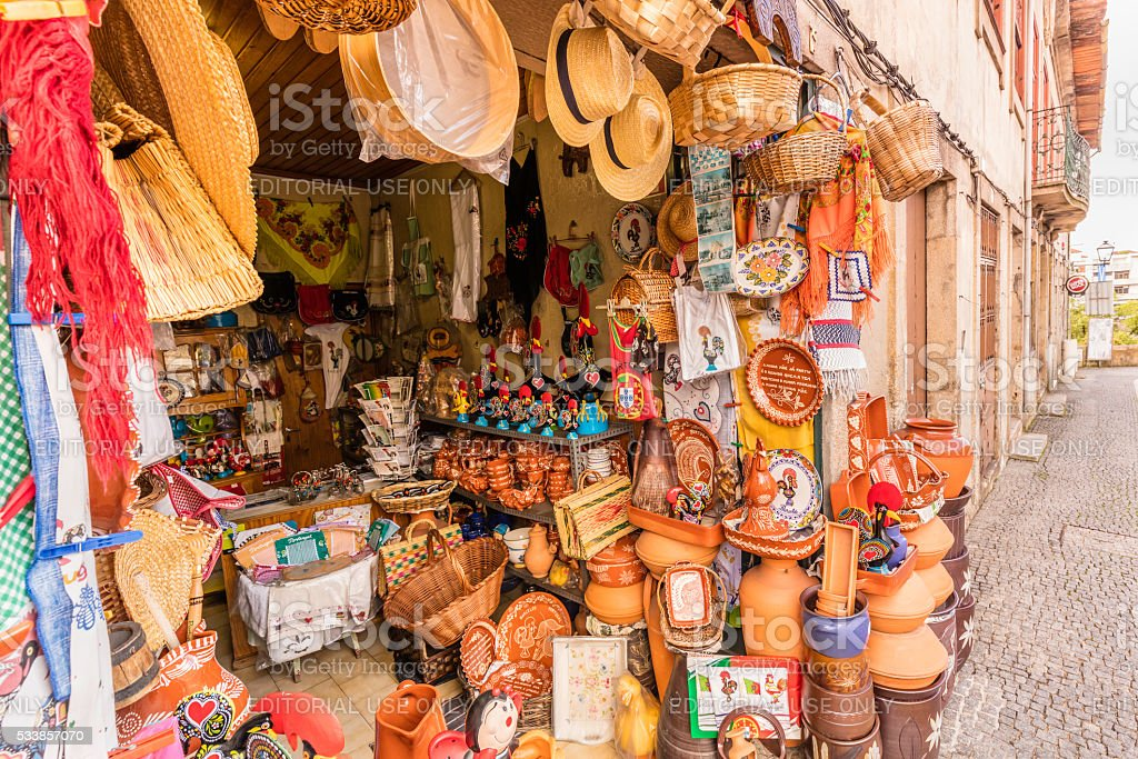 Souvenirs in the town of Barcelos, Portugal stock photo