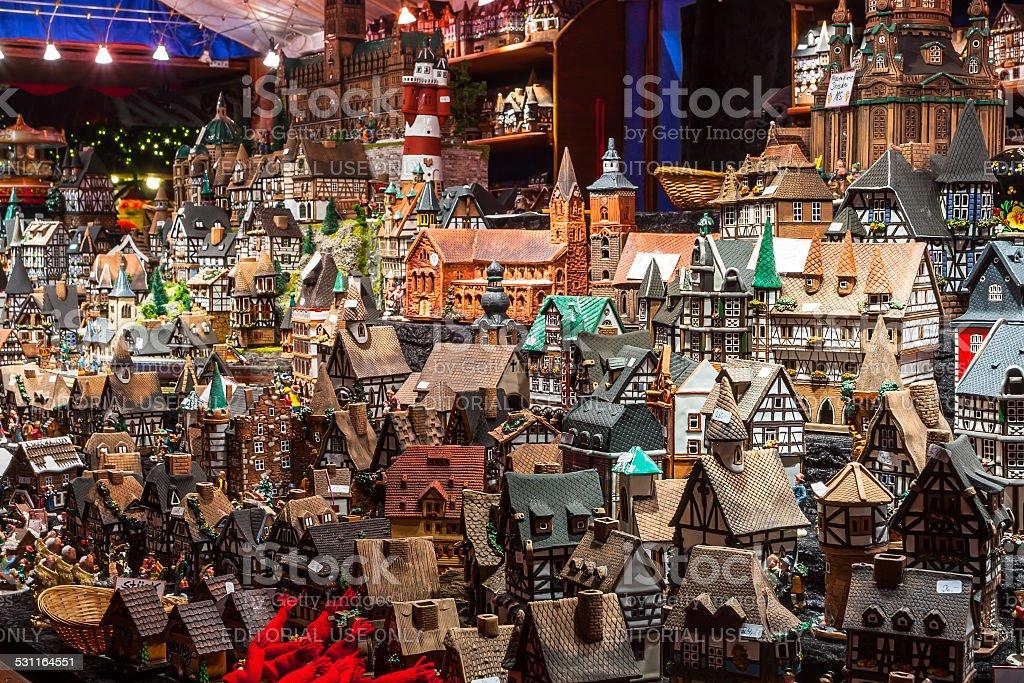 Souvenirs on Christmas market in Hamburg stock photo