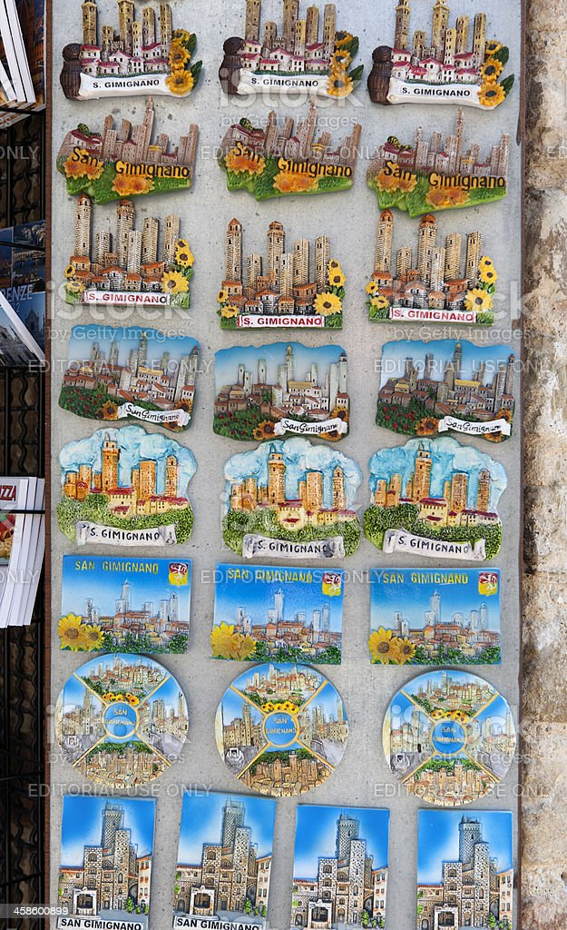 souvenirs on display in San Gimignano Italy royalty-free stock photo