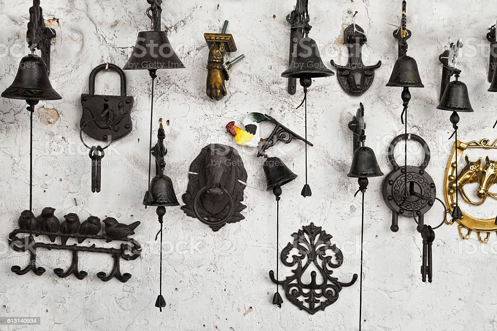 souvenirs on the wall stock photo