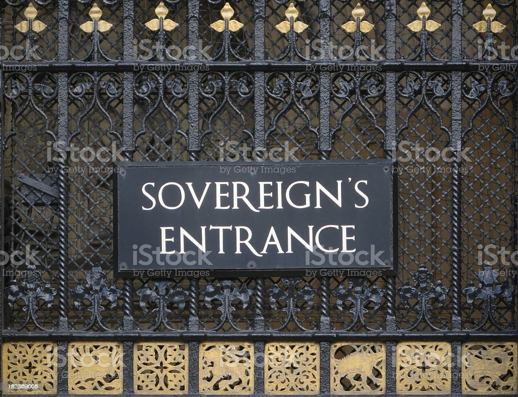 Sovereign's Entrance, Houses of Parliamnt, London. stock photo