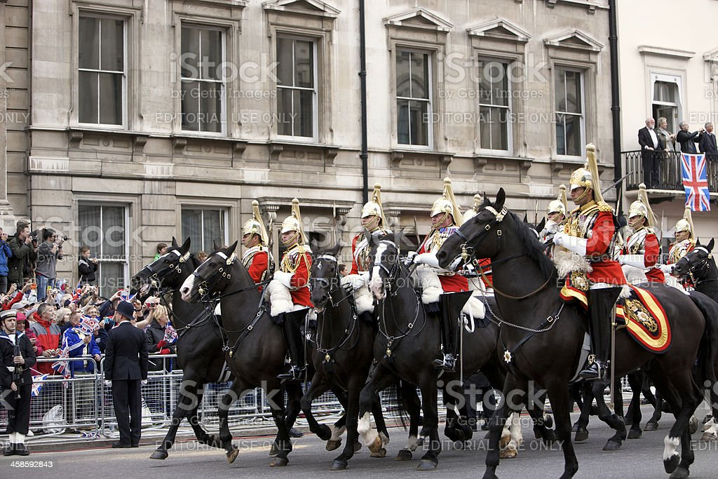 Sovereign's Escort at the Queen's Diamond Jubilee State procession royalty-free stock photo