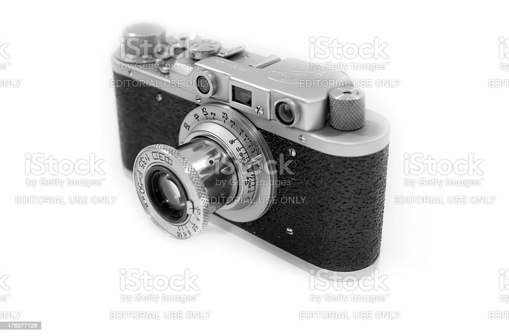 Soviet 35mm rangefinder camera Fed-1 with collapsible 50mm lens stock photo