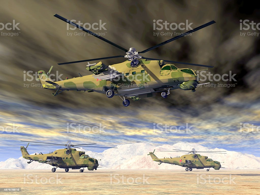Soviet attack helicopters of the cold war stock photo