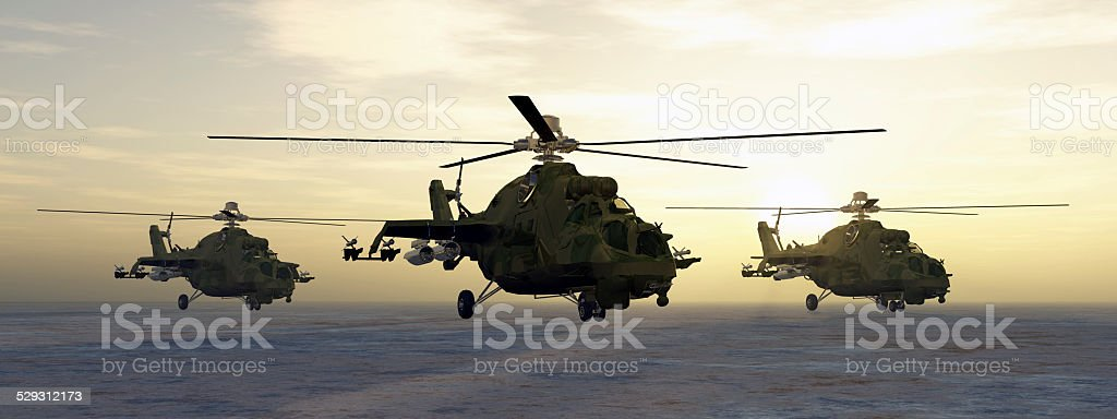 Soviet attack helicopters stock photo