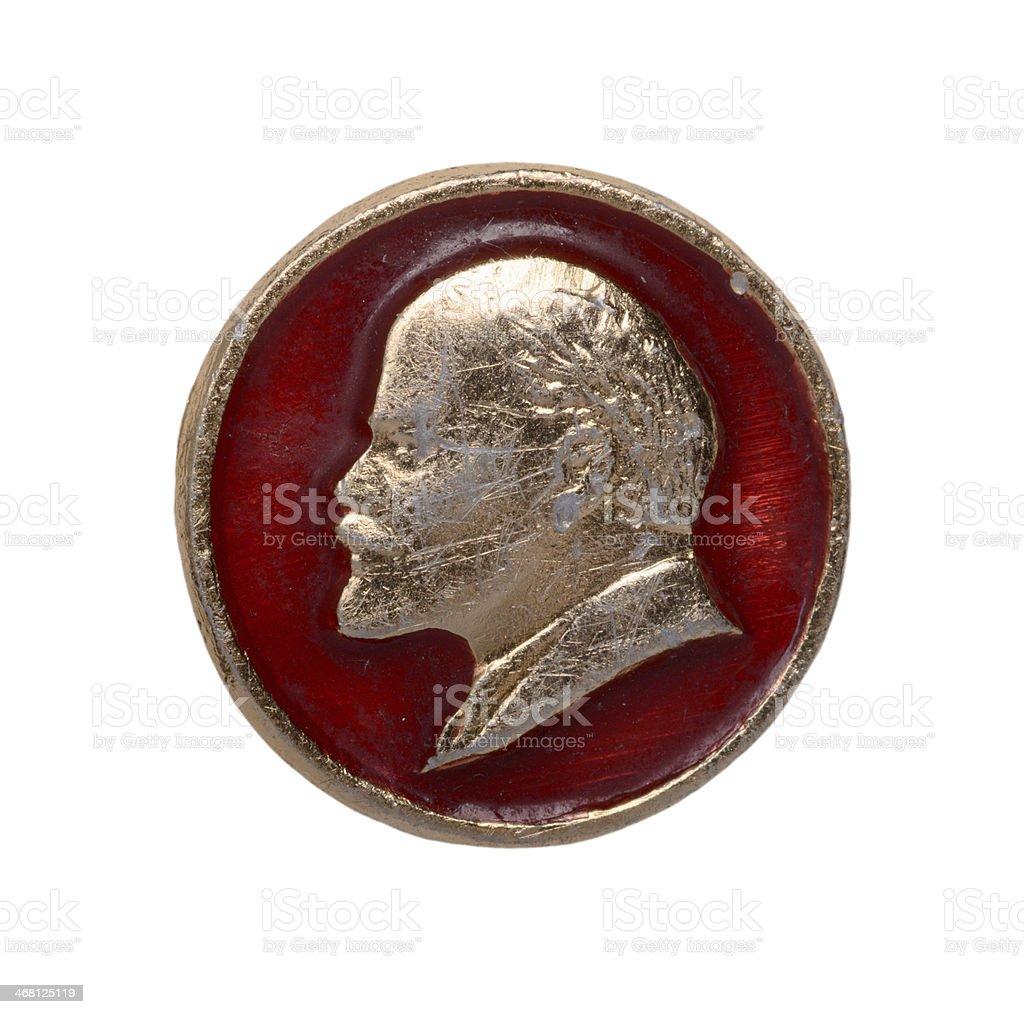 Soviet badge with lenin royalty-free stock photo