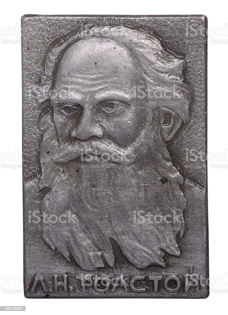 Soviet badge with Leo Tolstoy stock photo