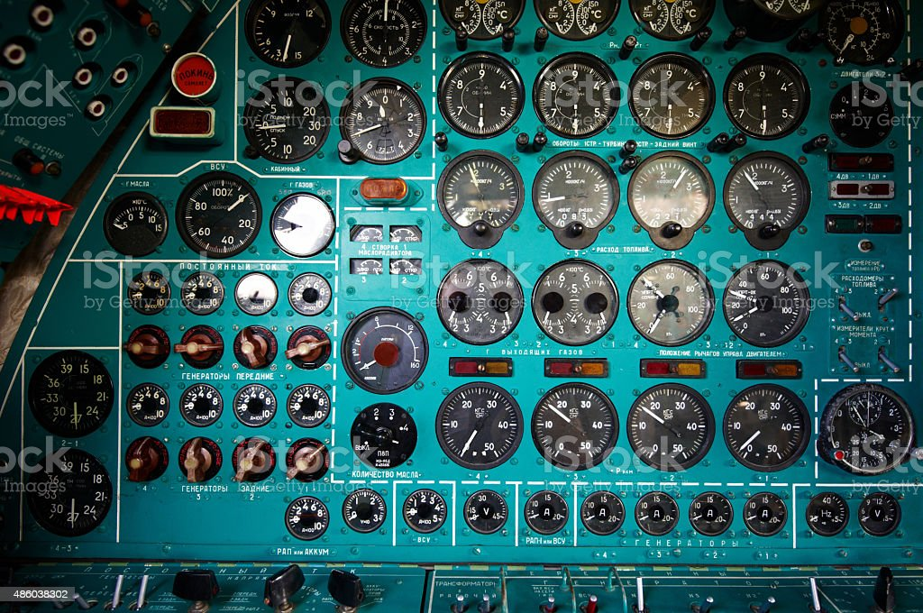 Soviet bomber instrument panel stock photo