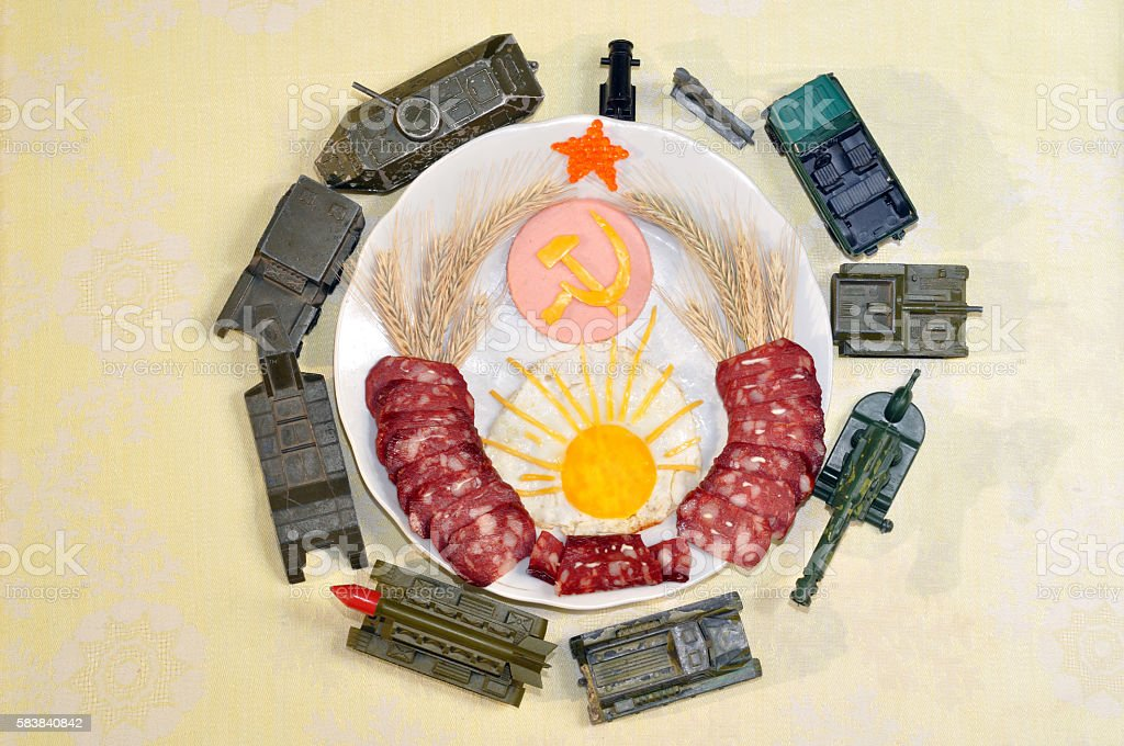 Soviet coat of arms made from foods. military Toys stock photo