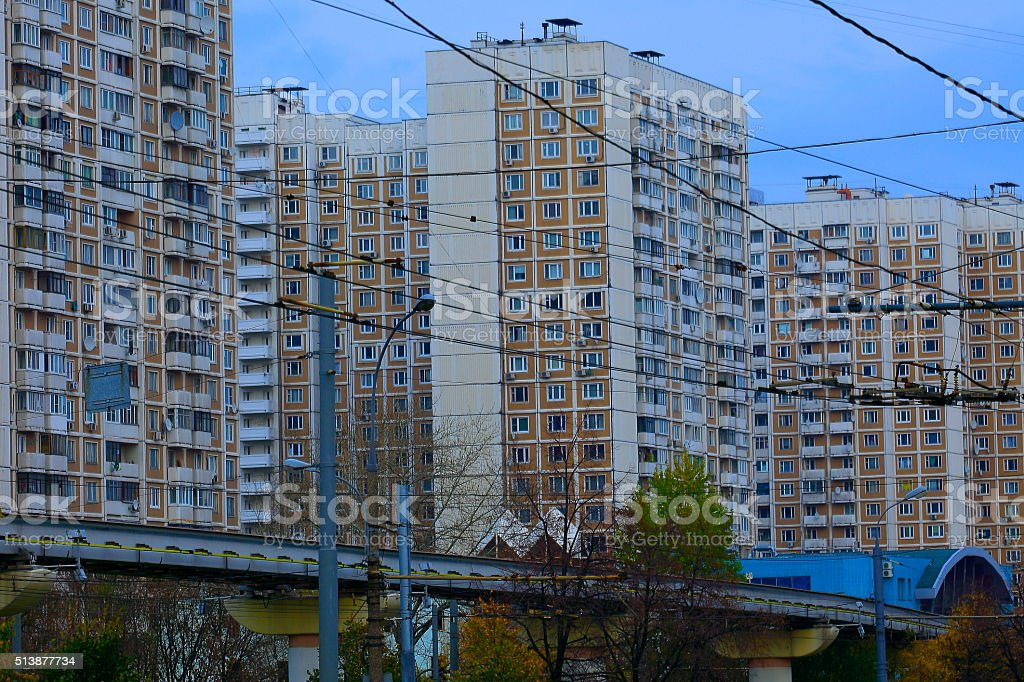 Soviet Communist era block building mess in Moscow, Russia stock photo