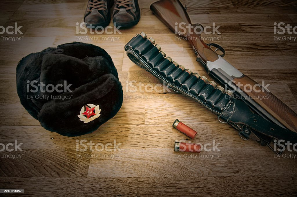 Soviet Fur Hat with Weapon stock photo
