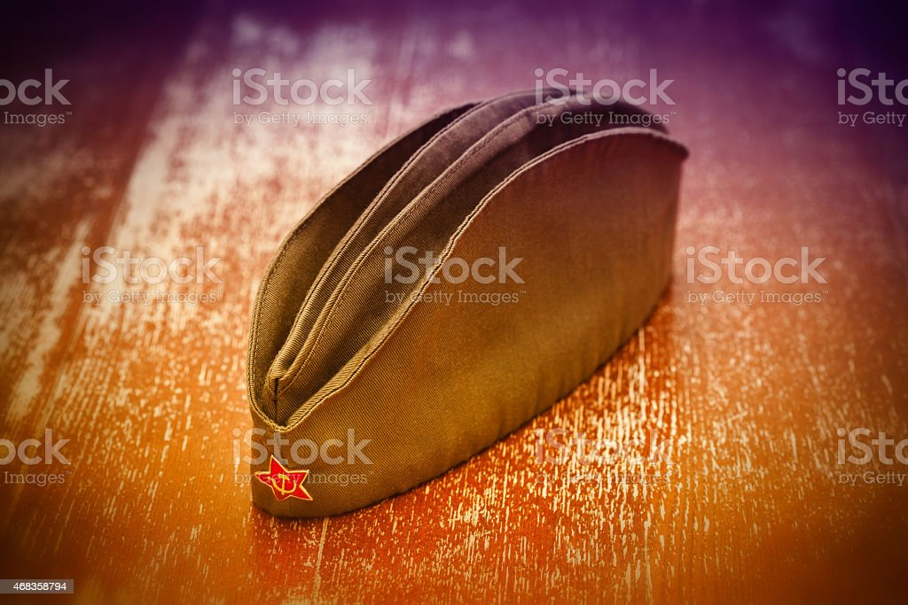 Soviet garrison cap with a red star stock photo