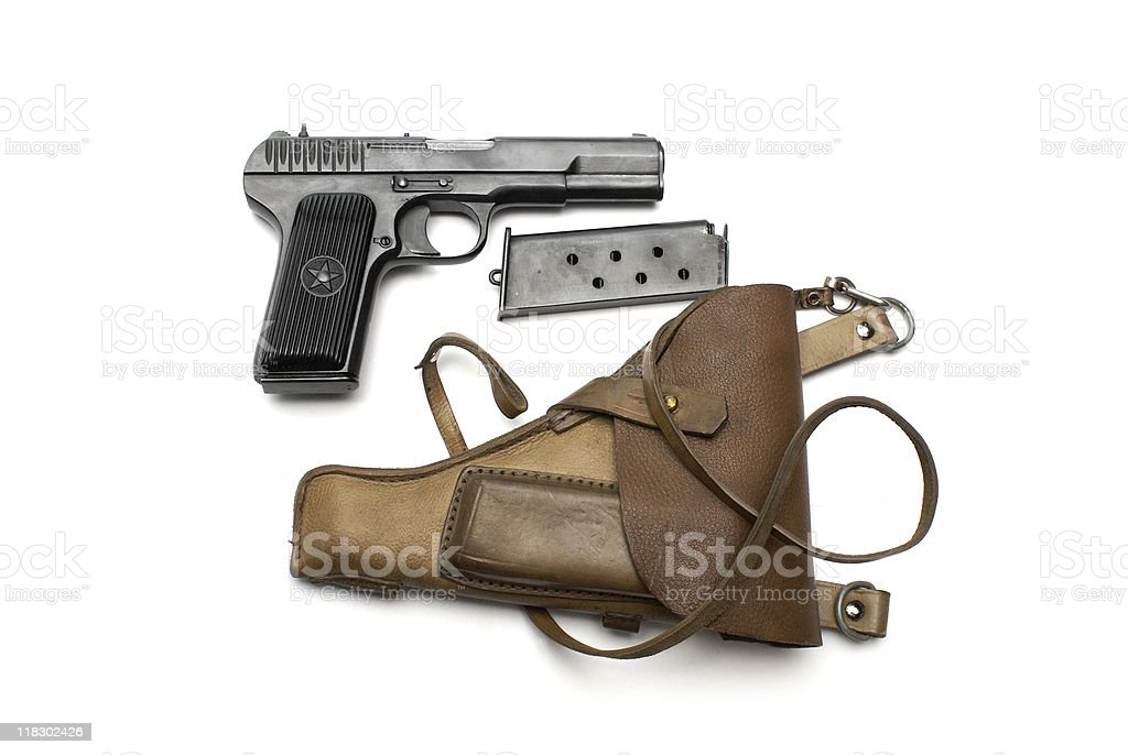 soviet hand pistol gun with holster royalty-free stock photo