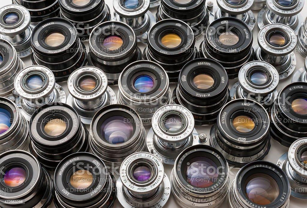 Soviet lenses set stock photo