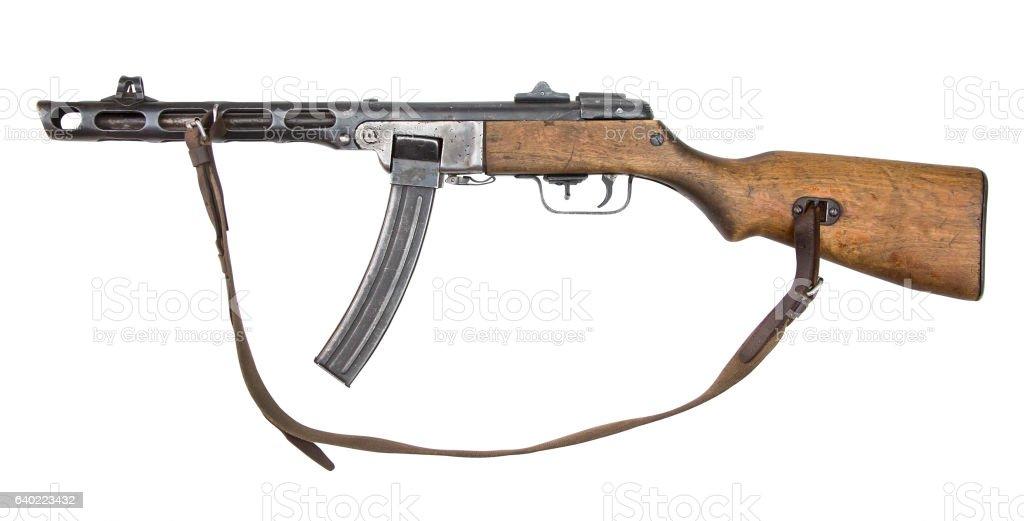 Soviet machine-gun isolated on white stock photo