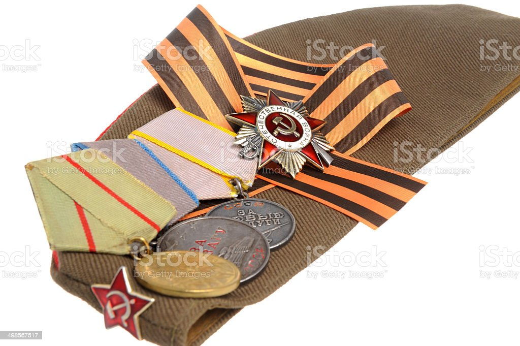 Soviet military cap, Saint George ribbon, medals of Great Patrio stock photo