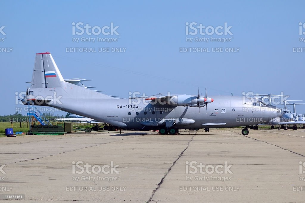 AN-12 - Soviet military transport aircraft royalty-free stock photo