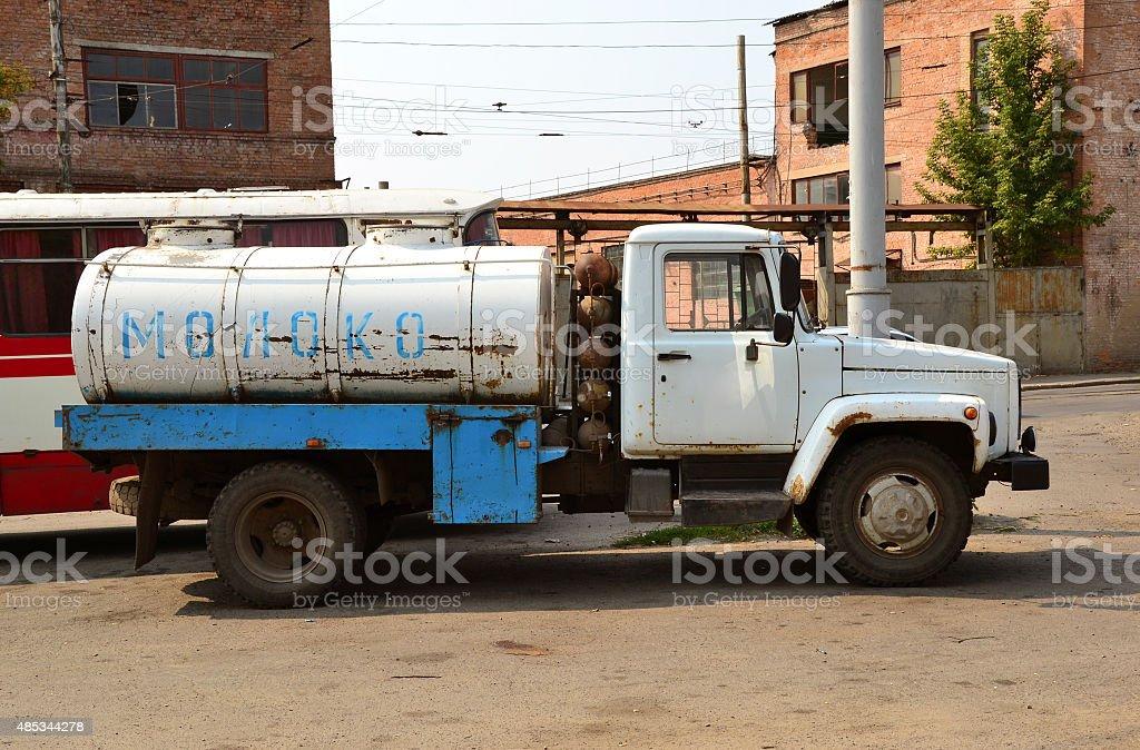 Soviet milk tanker stock photo