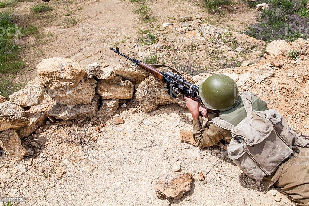 Soviet paratrooper in Afghanistan stock photo