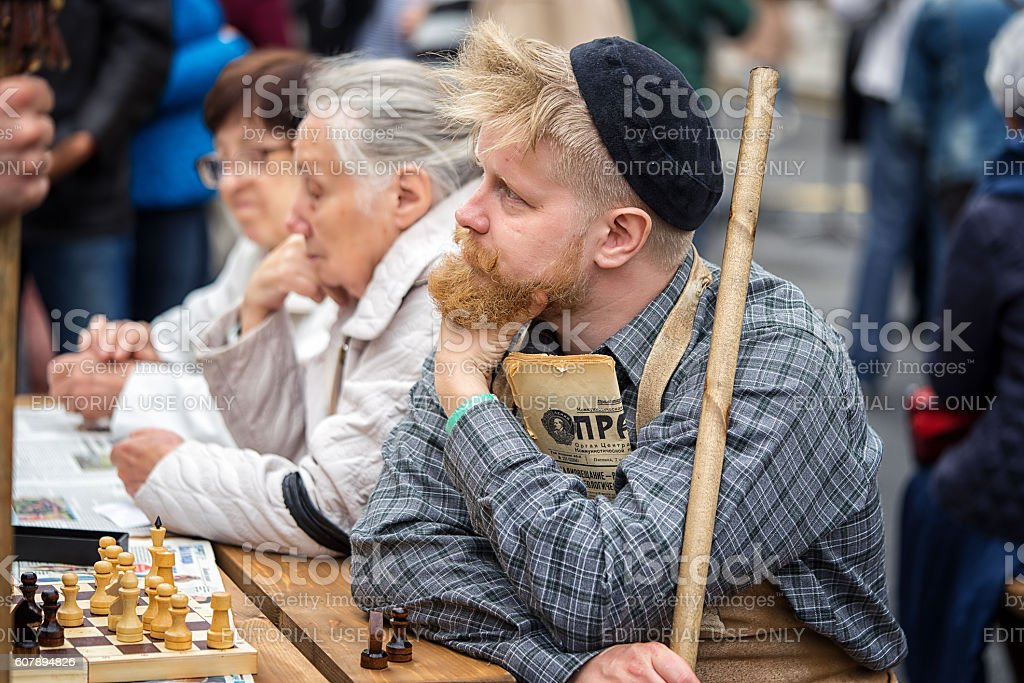 Soviet pensioners on a bench stock photo