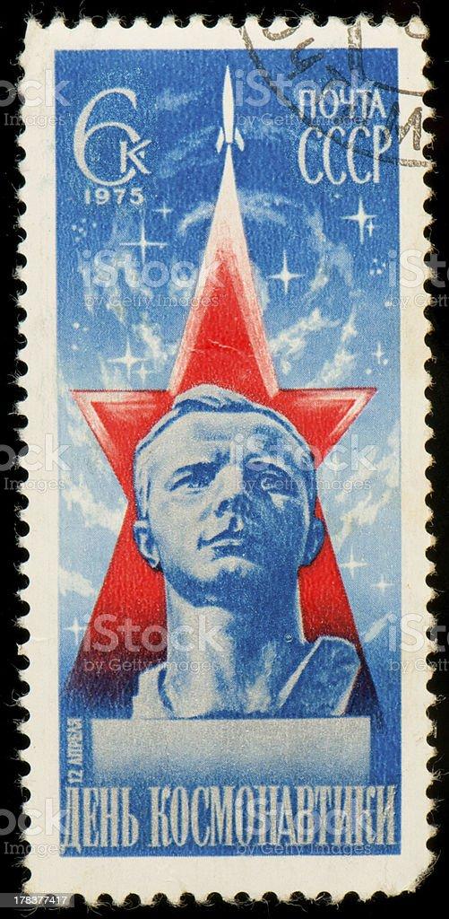 Soviet postage stamp dedicated to cosmonautics day stock photo