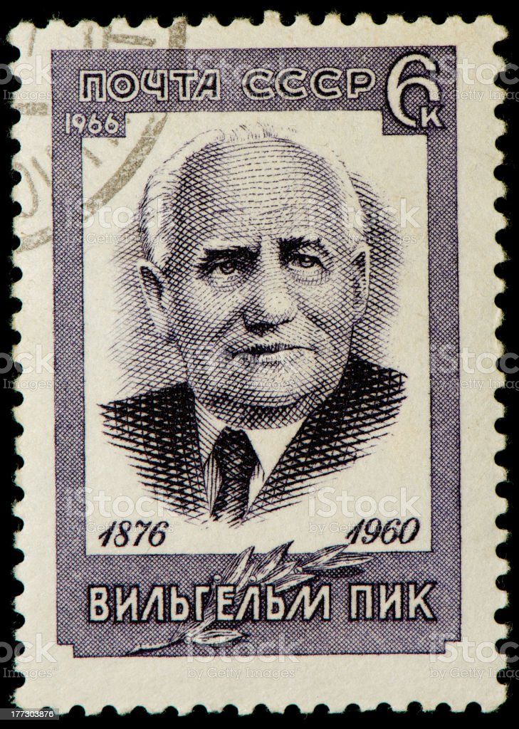Soviet postage stamp from 1966 dedicated to Wilhelm Pieck stock photo