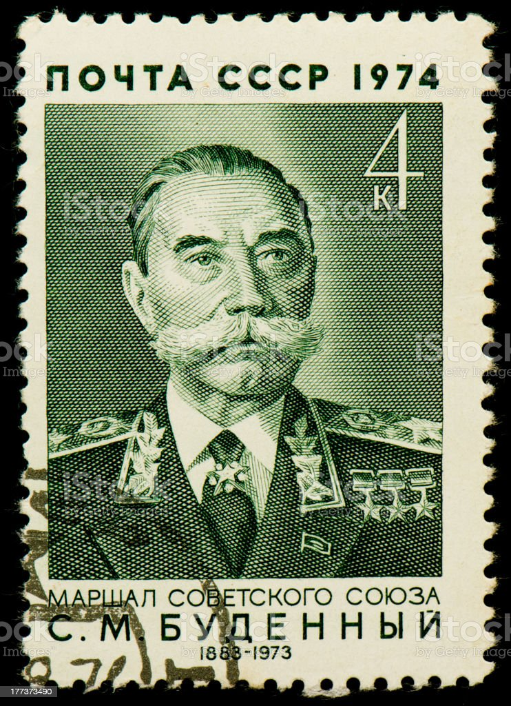 Soviet postage stamp with Semyon Budyonny stock photo