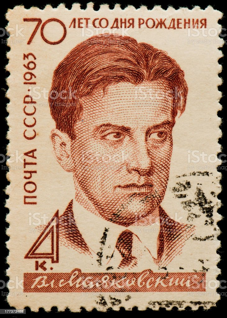 Soviet postage stamp with Vladimir Mayakovsky royalty-free stock photo