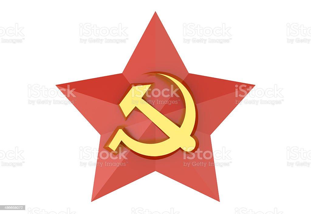 Soviet red star badge stock photo