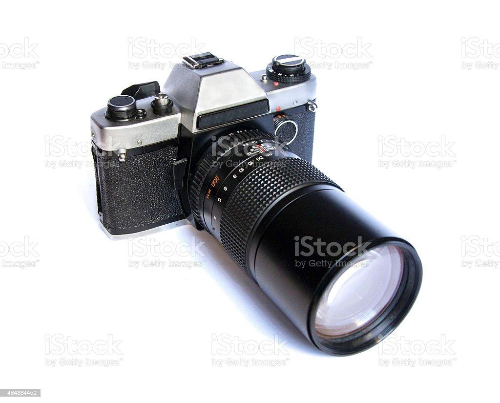 Soviet retro film camera isolated on white background stock photo