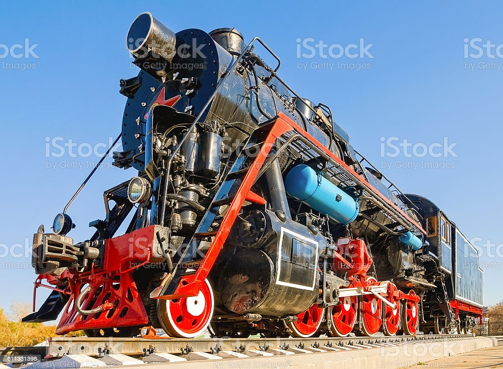 Soviet (Russian) retro steam locomotive with red star stock photo