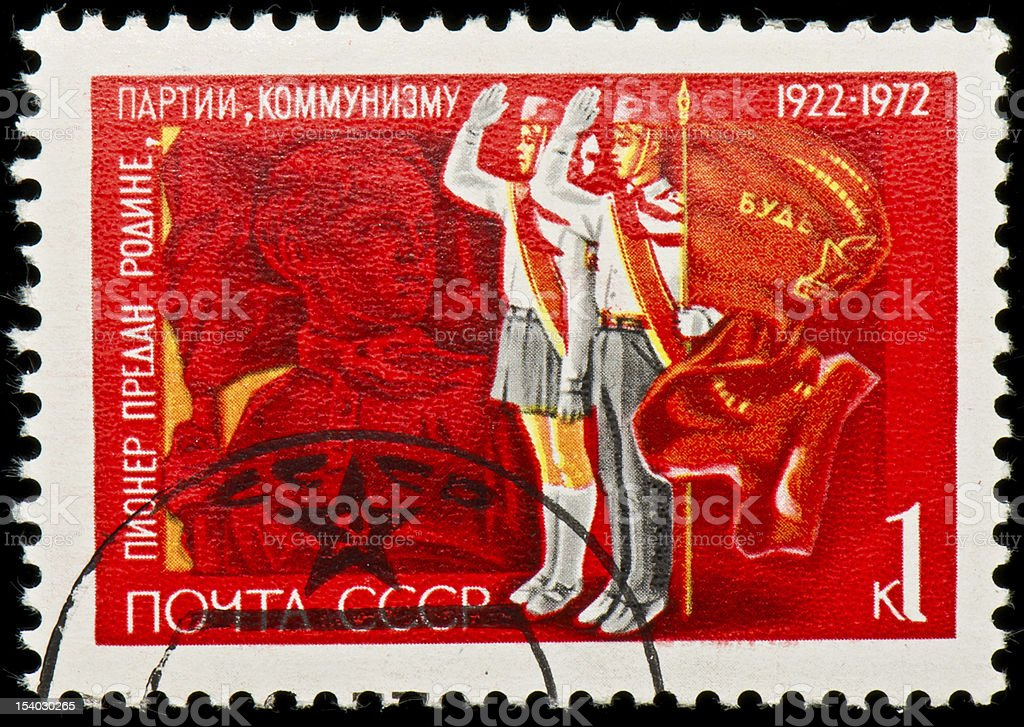Soviet Russian postage stamp with pioneers stock photo
