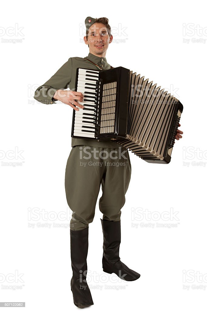 Soviet soldier with accordion stock photo