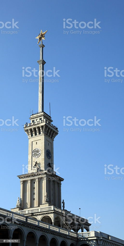 soviet spire of river port stock photo
