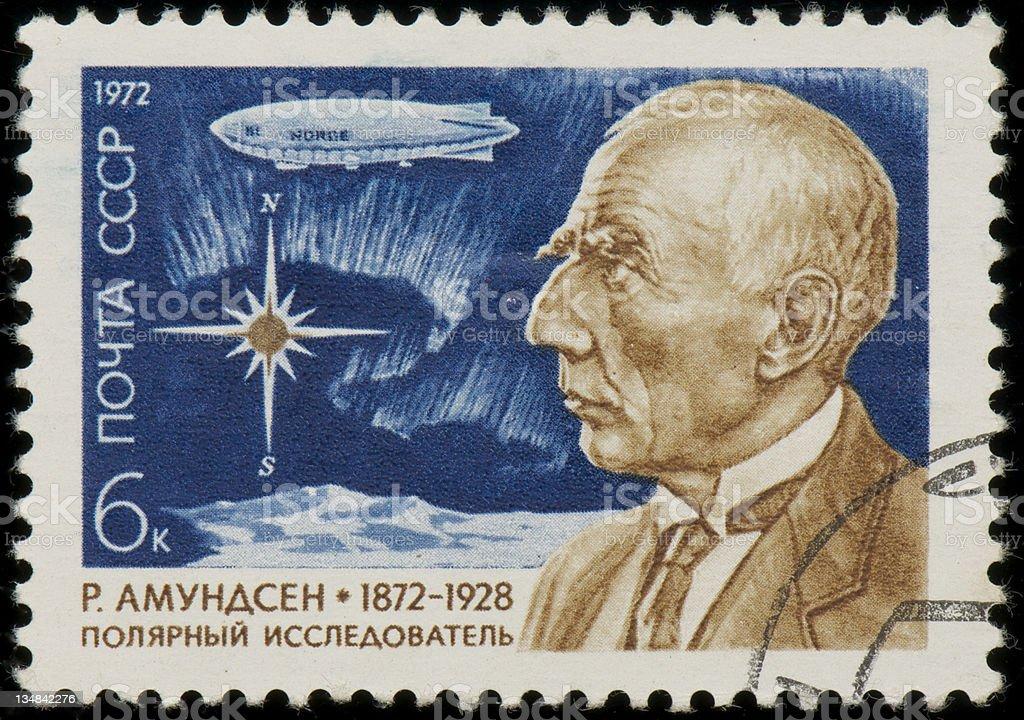 Soviet stamp with Roald Amundsen stock photo
