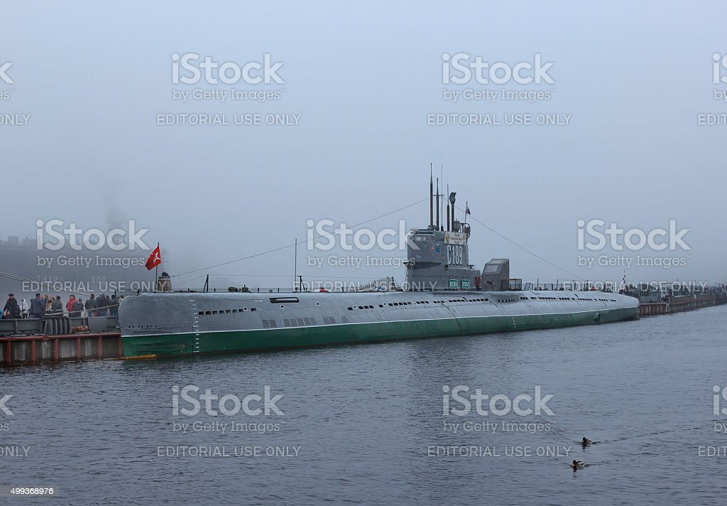 Soviet submarine S-189 in a fog stock photo