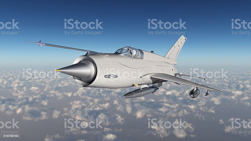Soviet supersonic jet fighter aircraft of the cold war stock photo