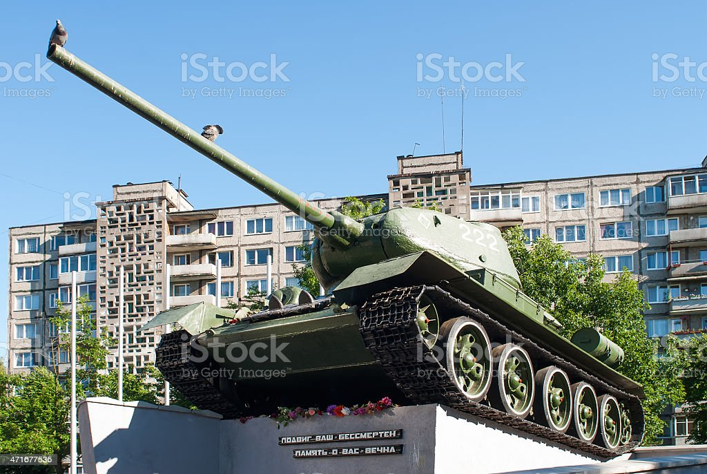 soviet tank t34 monument in Kaliningrad stock photo