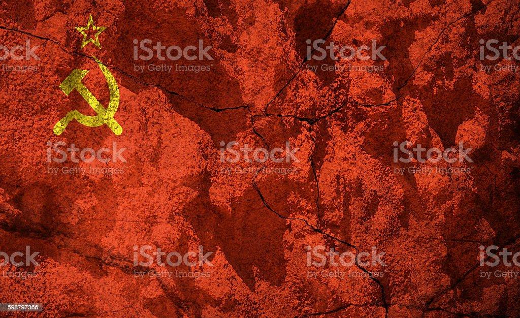 USSR - Soviet Union -  flag on stone stock photo