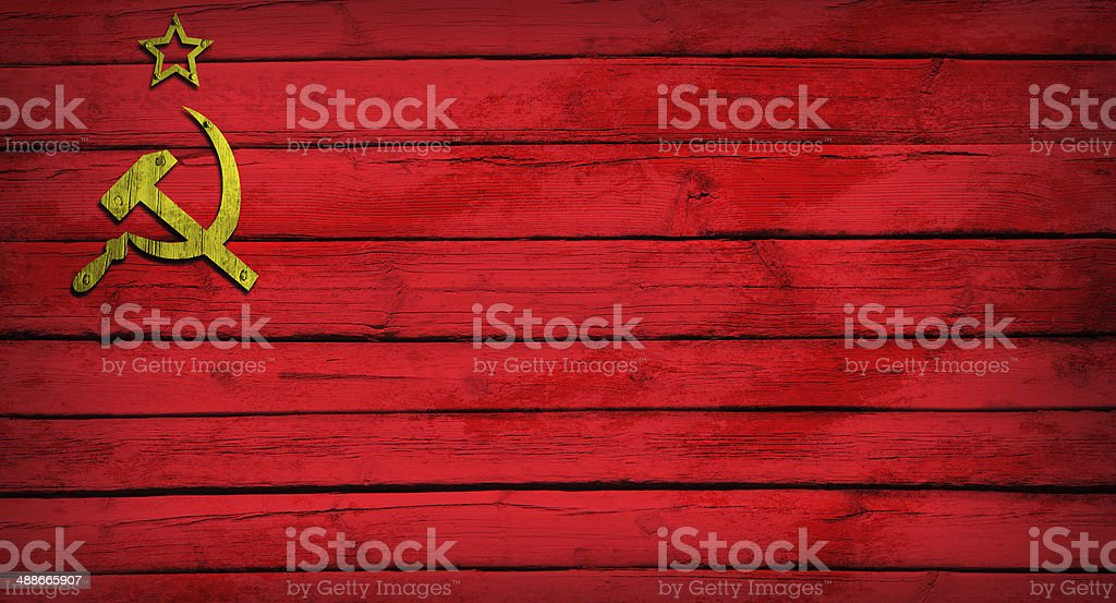 Soviet Union flag painted on wooden boards royalty-free stock photo