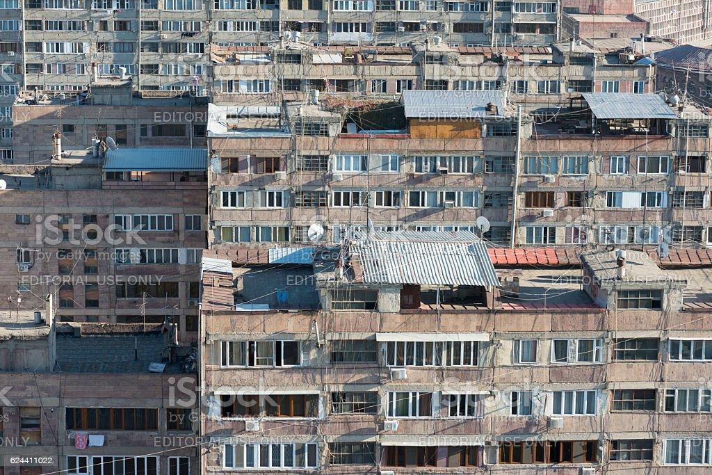 Soviet-era apartment buildings in Yerevan, Armenia stock photo