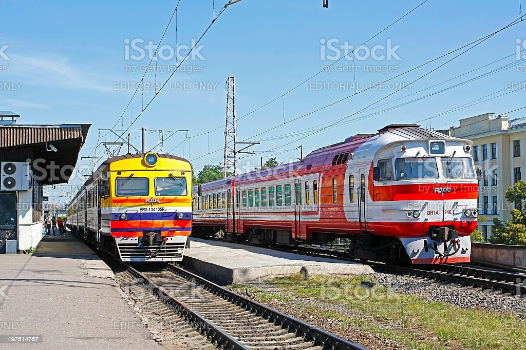 Soviet-era commuter trains in Riga Central Station stock photo