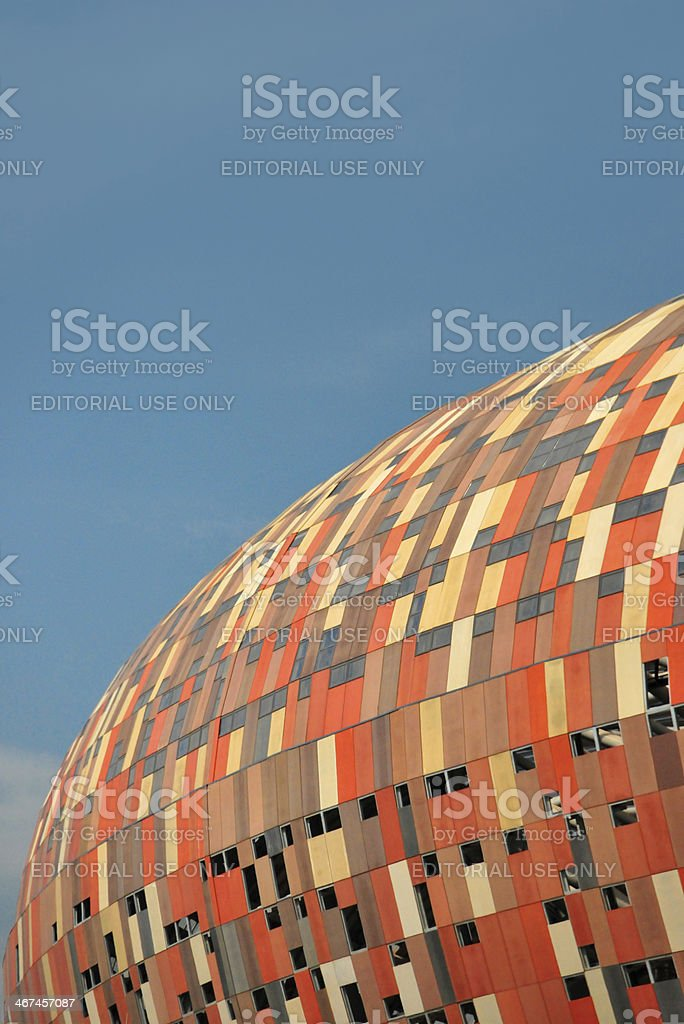 Soweto, Johannesburg, Gauteng, South Africa: Soccer City stadium and sky stock photo
