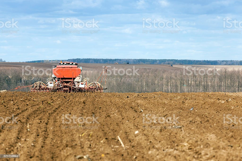 sowing of cereals. Spring stock photo