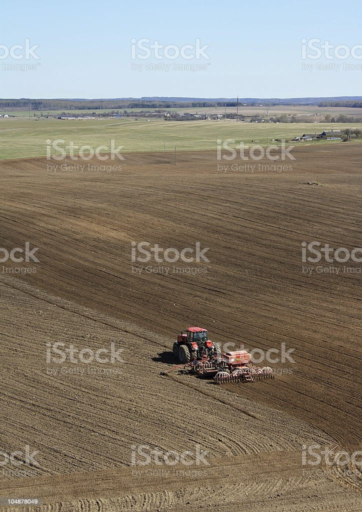 Sowing tractor royalty-free stock photo